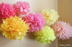 ON SALE 10 Pink Lemonade Birthday Party Decorations Tissue Pom Poms