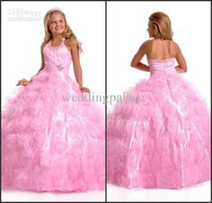 2013 No Risk Shopping ball gown halter beaded pink organza floor length dresses… Pagent Dresses For Kids, Camo Prom Dresses, Puffy Dresses, Girls Dresses Online, Girls Pageant Dresses, Pink Wedding Dresses, Bridal Dresses, Flower Girl Dresses, Dress Online