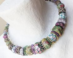 "Colorful chunky bib collar necklace- handmade polymer clay art beads with amethyst gemstones by fancifuldevices - ""Landfall"""