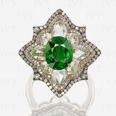 Snowflake Tsavorite & Diamond Ring ~ IVY New York