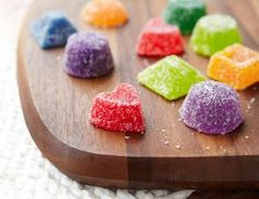 Homemade Gumdrop Recipe: Cute for making gingerbread houses! Candy Recipes, Sweet Recipes, Dessert Recipes, Gumdrop Recipe, Yummy Treats, Sweet Treats, Good Food, Yummy Food, Homemade Candies