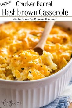 This Hashbrown Casserole tastes just like the Cracker Barrel version and is so e. - This Hashbrown Casserole tastes just like the Cracker Barrel version and is so easy to make. Cheesy Hashbrowns, Hashbrown Breakfast Casserole, Potatoe Casserole Recipes, Potato Recipes, Breakfast Potatoes, Brunch Casserole, Cracker Barrel Hashbrown Casserole Recipe Copycat, Easy Hash Brown Casserole, Casserole Dishes