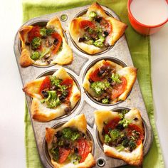 Muffin Tin Pizzas Recipe -I just baked these mini pizzas and the kids are already demanding more. The no-cook pizza sauce and refrigerated dough make this meal a snap. —Melissa Haines, Valparaiso, Indiana