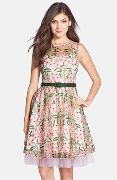 Eva by Eva Franco 'Renee' Belted Floral Embroidered Fit & Flare Dress available at #Nordstrom