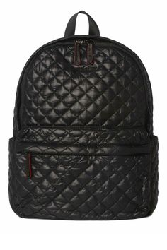 """Made from our signature foldable, durable Quilted Oxford Nylon that will never lose its shape. This lightweight backpack is perfect for everything from use as a baby or gym bag to accompanying you while traveling with its spacious compartments, zippered pockets, and room for a water bottle on each side. One exterior zip pocket two exterior slip pockets and signature six pocket interior. Medium detachable travel pouch    Measures: 12.5"""" l x 7.5"""" w x 16.5"""" h   Metro Backpack by MZ Wallace…"""