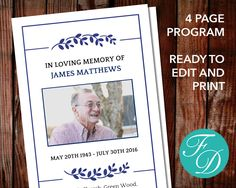 Funeral Program Template Order Of Service Memorial Program