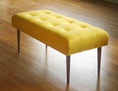 Modern bench in Knoll upholstery (canary) 400. canary yellow 4-6 weeks + delivery time (Etsy)