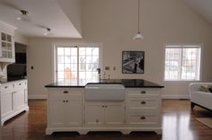 kitchen island with belfast sink