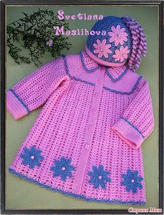 Baby Girl Crochet, Crochet Baby Clothes, Cute Crochet, Crochet For Kids, Crochet Coat, Crochet Jacket, Baby Girl Patterns, Baby Coat, Baby Sweaters