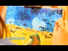 Vincent Van Gogh For Kids - How to Paint Wheatfield With Crows by 8 year old Sophia Artist Van Gogh, Van Gogh Art, Art Van, Van Gogh For Kids, Art For Kids, Kid Art, Classroom Crafts, Classroom Ideas, Teaching Art