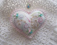 Felt Ornament White Felt Heart Hanging with Little Sequin Flowers and Pink Cotton Crochet Edge Handsewn