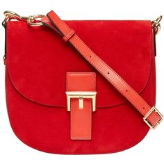 Marc Jacobs Collection Suede Ns Decoy featuring polyvore, fashion, bags, handbags, shoulder bags, shoulder strap purses, suede purse, red shoulder bag, marc jacobs purse and red handbags
