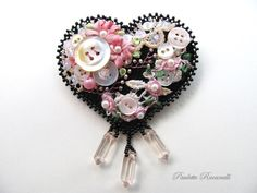 Crazy Embellishment Quilting Silk Ribbon Embroidery | Felt Heart Pin / Crazy Quilt Style by Beedeebabee on Etsy