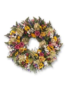 18 Inch Roses And Berries Fern Wreath, Rose And Faux Berry Wreath | Balsam Hill