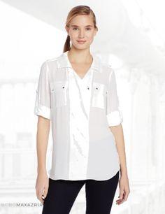 BCBGMAXAZRIA Women's Sessilee Draped Long Sleeve Shirt