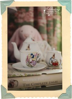Beatrix Potter tea set {let's decorate with} Pink & Green Drapes in a small little girl's bedroom