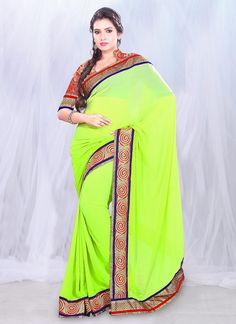 Spectacular Green Faux #Georgette #Saree