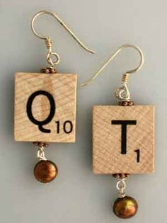 Scrabble earrings: inspiration only, no tutorial {|}