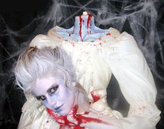 "Headless Marie Antoinette Halloween Costume - This is soooo icky.which I guess means that it's ""great"" from a Halloween perspective. Coastumes Halloween Effrayants, Amazing Halloween Costumes, Diy Costumes, Costume Ideas, Goddess Halloween, Wicked Costumes, Halloween Projects, Spirit Halloween, Halloween Makeup"
