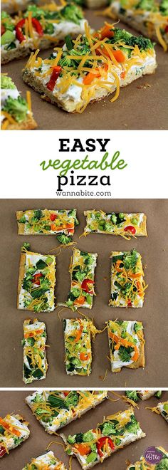 Easy Vegetable Pizza great for an afternoon or even a party! Super easy and YUMMY!! via @Wannabite