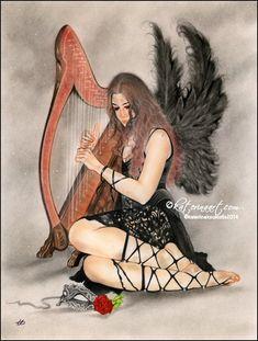 Music of the Night Fantasy and Portraiture art by Katerina Art,The beautiful Art by Katerina Koukiotis