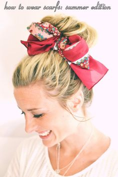 Here are nine different ways to wear a hair scarf this season whether it is to hide a bad hair day or to add a little oomph to your outfit. If you want to wear your hair up or leave it down there i… My Hairstyle, Scarf Hairstyles, Pretty Hairstyles, Hair Updo, Coiffure Hair, Twisted Hair, Summer Scarves, Scarf Summer, Great Hair