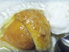 Peach Dumplings   Yum... Possibly will try with my canned sliced peaches. Wanting something sweet but with fruit.