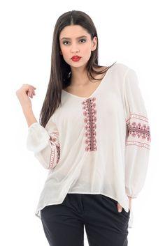 Poarta #ie cu bucurIE! #romanianblouse #ieRomanianLabel Tunic Tops, Long Sleeve, Sleeves, Collection, Dresses, Women, Fashion, Blouses, Vestidos