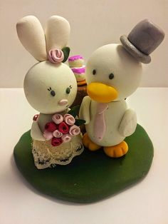 Bunny & Duck Wedding Cake Topper Custom by BlushandSparkle Custom Wedding Cake Toppers, Wedding Cakes, Duck Or Rabbit, Bunny, Christmas Ornaments, Holiday Decor, Handmade Gifts, Crafts, Etsy