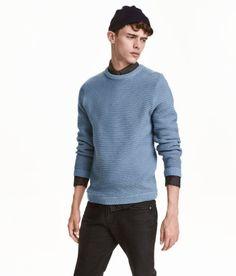 Ribbed Sweater | Gray blue | Men | H&M US