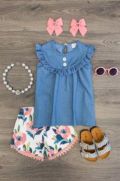 Pretty Petal Denim Short Set - Sparkle In Pink Toddler Girl Style, Toddler Fashion, Toddler Dress, Toddler Outfits, Baby Dress, Baby Outfits, Kids Outfits, Kids Fashion, Cute Outfits