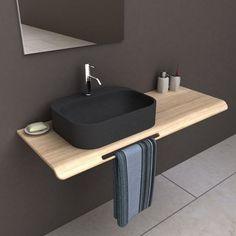 vasque a poser resine de synthese l 50 x p 37 cm noir pal Lavabo Salle De  Bain, Meuble Salle De Bain, Meuble Wc, Toilettes Deco 776ec95cc371