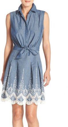 ECI Embroidered Chambray Dress