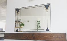 Art Deco Mirror Over Mantel Mackintosh Stained Glass style Large mirror by Catfishglass on Etsy Art Deco Mirror, Mirror Work, Art Deco Spiegel, Mirror Brackets, Mantel Mirrors, Art Deco Period, Living Room Art, Room Inspiration, Stained Glass