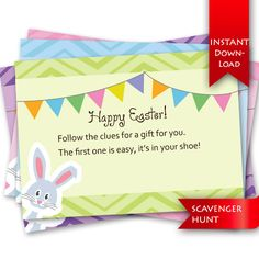 Make your Easter morning memorable! Easter Scavenger Hunt | 12 Rhyming clues and editable template to create your own clues.