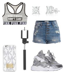 """Who up?!?"" by miyaaonfleek02 ❤ liked on Polyvore featuring NIKE, MICHAEL Michael Kors and Pieces"