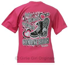 Girlie Girl Originals, My Hero wears Combat Boots, (YOUTH)hotpink t-shirt