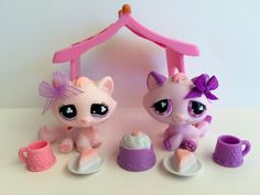 Littlest Pet Shop Pair of Pink & Purple Tabby Cats #576 & #606 w/Accessories #Hasbro