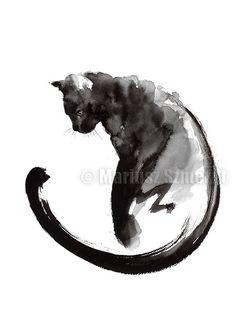 Black Cat Art Print by Mariusz Szmerdt Cat tattoo Black Cat Painting, Ink Painting, Watercolor Paintings, Tattoo Watercolor, Cat Paintings, Painting Tattoo, Watercolor Ideas, Watercolor Design, Cat Watercolour