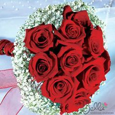Arranged wedding flowers - Red Roses & Baby's Breath Bridal Bouquet
