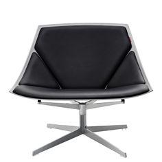 Fritz Hansen - Space Sessel, Leder schwarz, ohne Drehfunktion Schwarz T:70 H:76 B:85