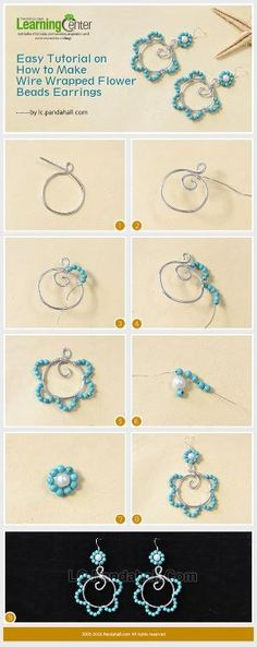 Easy Tutorial on How to Make Wire Wrapped Flower Beads Earrings from LC.Pandahall.com | Jewelry Making Tutorials & Tips 2 | Pinterest by Jersica