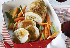 Recette de roulé de dinde au pain d'épices à boit avec un vin fruité et généreux. Mets, Fruity Wine, Food, Recipes, Noel
