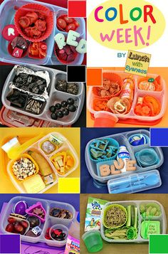 What's in our lunch boxes: Do you pack colorful lunches for color week at your child's school? Lunch With Eyeness sure does! Check out her Facebook page for more fun lunch ideas. https://www.facebook.com/LunchWithEyeness