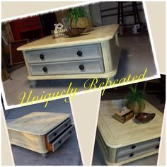 Antiqued cream  gray coffee table