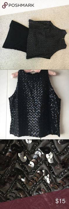 """Beautiful beaded and sequin top Very dressy black top🌱Sequins and beads🌱Medium🌱Upper left shoulder needs some repair🌱Pit to pit 19"""";shoulder to bottom 21""""🌱Zipper in back🌱Great for the holidays! Tops Tank Tops"""