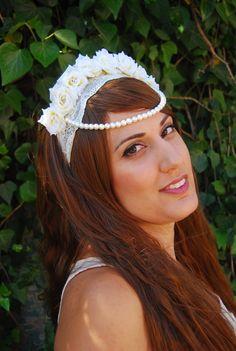 Pearl Bride White Flower Crown Headpiece Tiara by NebulaXcrafts, $44.40