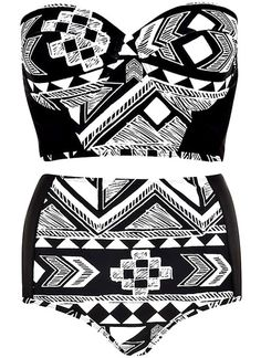 Aztec High Waist Bikini Set