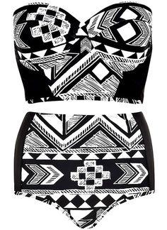 Aztec High Waist Bikini Set. Yasssss. ❤️