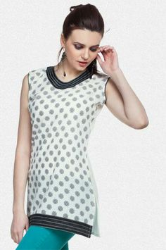 Buy Online Shopping Deals Offers In India Branded white colored having a chic stylish look. Sleeveless short kurti with pretty floral print. Solid neckline & hemline have embroidery detailing. Made from 100% cotton material. Relax yourself along with leggings & kolhapuris. Stay refreshed all day long in this trendy kurti this summer.